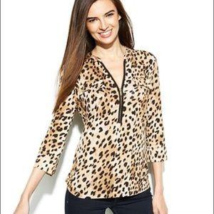 Calvin Klein Roll-Tab Cheetah-Print Zip-Front Top